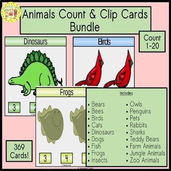 Animals Clip Cards Bundle