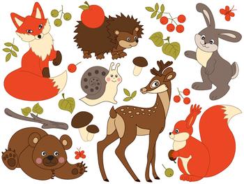 Animals Clipart - Digital Vector Deer, Fox, Squirrel, Bear