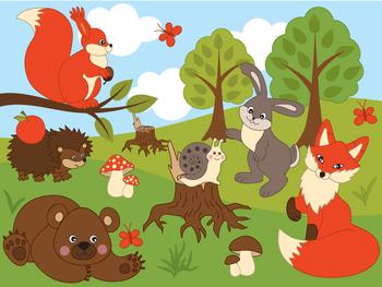 Animals Clipart - Digital Vector Fox, Squirrel, Bear, Rabb