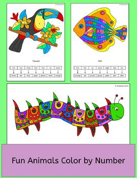 Animals Color by Number pictures - fun activity