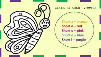 Animals Color by Short Vowel Sound, Short Vowels Reading Activity :)