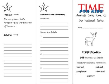 Animals Come Home To Our National Parks Trifold - Treasures 4th Grade U 5 Wk 3