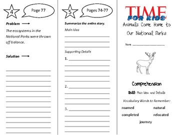 Animals Come Home to Our National Parks Trifold - Treasures 4th Gr Unit 1 Week 3