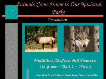 Animals Come Home to Our National Parks - Vocabulary