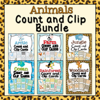 Animals Count and Clip Cards Numbers 1-12 Bundle