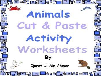 Animals Cut & Paste Activity Worksheets: