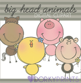Animals Digital Clip Art - Horse, Monkey, Chick, and Pig Images