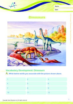 Animals - Dinosaurs (I): Name the Dinosaurs - Grade 3