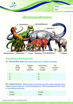 Animals - Dinosaurs (III): Dinosaur Names - Grade 4