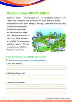 Animals - Dinosaurs: Pamela Likes Dinosaurs (with 'Triple-Track Writing Lines')