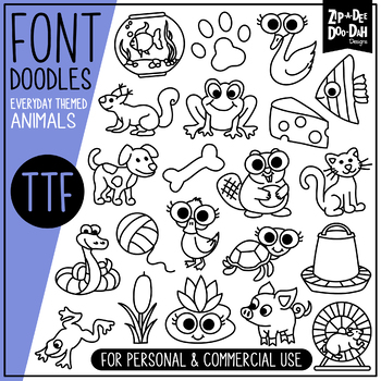 Animals Doodle Font {Zip-A-Dee-Doo-Dah Designs}