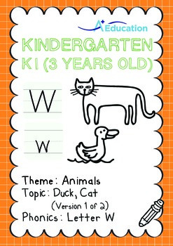 Animals - Duck, Cat (I): Letter W - K1 (3 years old)