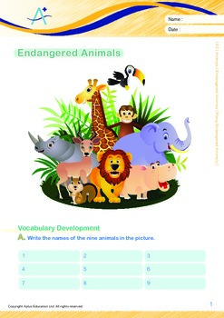 Animals - Endangered Animals (II): Many Endangered Animals - Grade 2