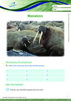 Animals - Endangered Animals (III): Manatees - Grade 6