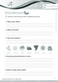 Animals - Farm Animals (II): Visiting a Farm (with 'Triple-Track Writing Lines')