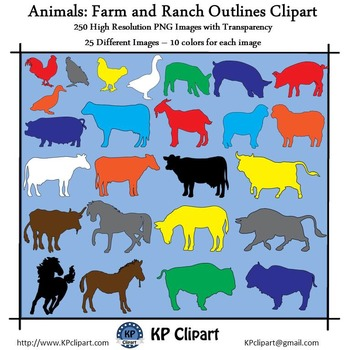Animals Farm and Ranch Animals Outlines Clipart