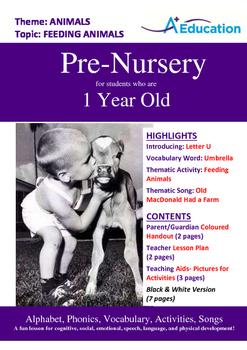 Animals - Feeding Animals : Letter U : Umbrella - Pre-Nursery (1 year old)