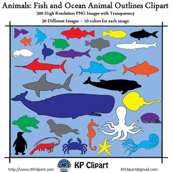 Animals Fish and Ocean Animal Outlines Clipart