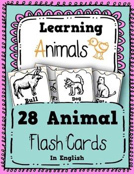 Animals: 28 Animals in English - Flash Cards