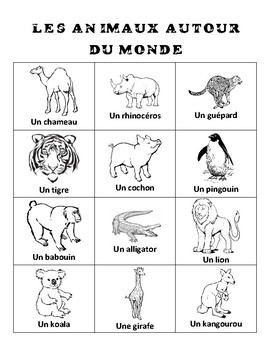Animals From Around the World BINGO in French