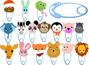 Animals Heads Clip Art school jungle party zoo tropical forest wild baby kids 72