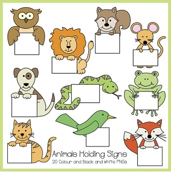 Animals Holding Signs Clipart