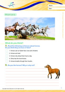 Animals - Horses: Ride a Horse to School - Grade 2