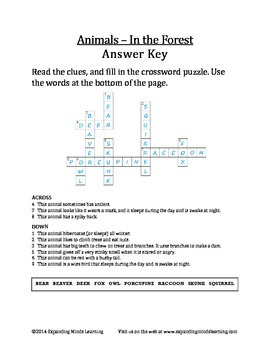 Animals In the Forest Crossword