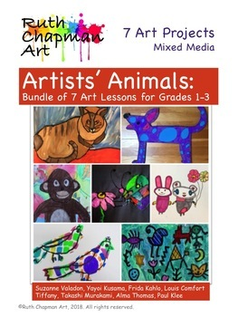 Animals Inspired by Famous Artists: Bundle of Art Lessons for Grades 1-3