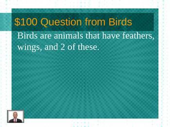 Animals Jeopardy (mammals, birds, fish, reptiles, amphibians)