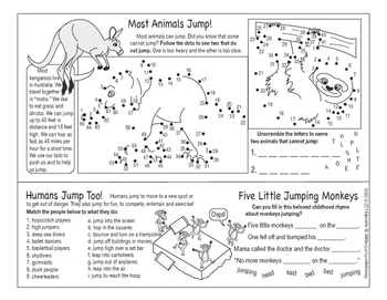 Animals Jumping and Hopping Two-Page Activity Set
