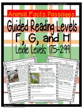 (Animals) Leveled Passages Guided Reading Levels F,G,H (Lexiles 175-299)