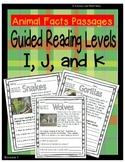 (Animals) Leveled Passages Guided Reading Levels I,J, K (Lexiles 290-440)