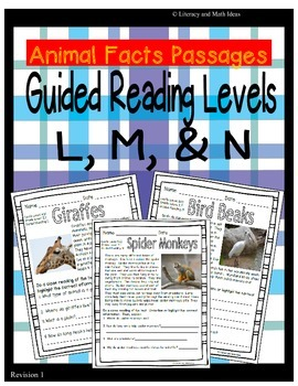 (Animals) Leveled Passages Guided Reading Levels L,M, N (L