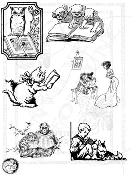 Animals Like To Read clipart  retro woodcuts