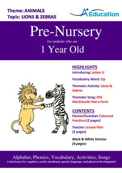 Animals - Lions and Zebras : Letter U : Up - Pre-Nursery (1 year old)