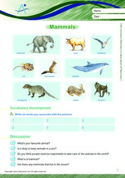 Animals - Mammals: A Description of Mammals - Grade 6