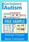 Animals Basic Concepts Match Count Sequence Autism Special Education FREEBIE
