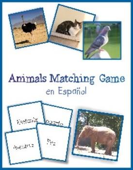 Animals Matching Game in Spanish