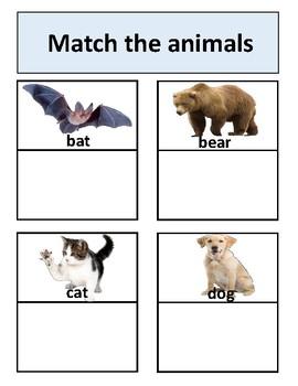 Animals Matching Work Binder