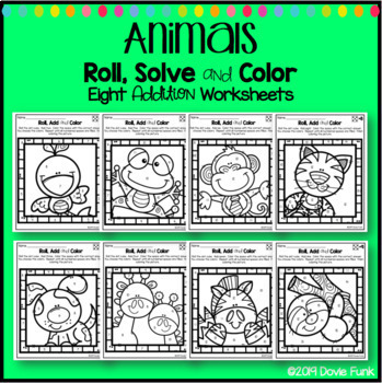 Math Coloring Worksheets Addition Roll Solve and Color