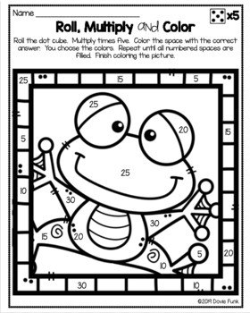 Multiplication Coloring Worksheets Roll Solve and Color Animals