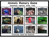Animals Memory Game (mammals, reptiles, birds, fish)