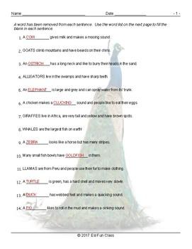 Animals Missing Word Worksheet