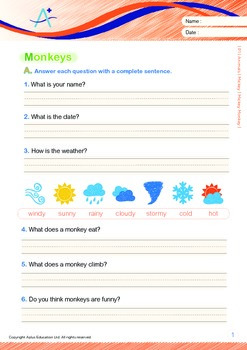 Animals - Monkeys: Mickey Monkey (with 'Triple-Track Writing Lines')