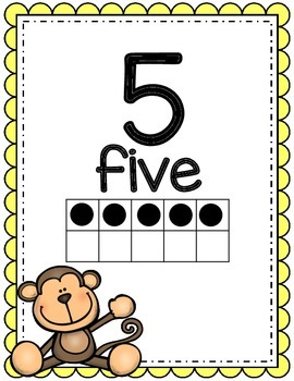Number Posters, Animals, Classroom Decor,  (Scalloped)