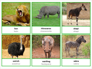 Animals Of Africa Montessori Pack 3 Part Cards, Fun Fact Cards, Posters