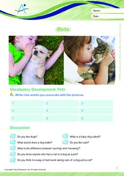 Animals - Pets (I): My Pet Kitten And My Pet Puppy - Grade 4
