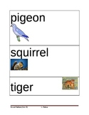Animals Picture Vocabulary Cards