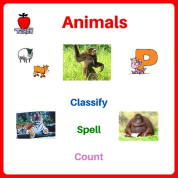 Animals Printable Activity Worksheets - Classify Animals, Spelling, Counting